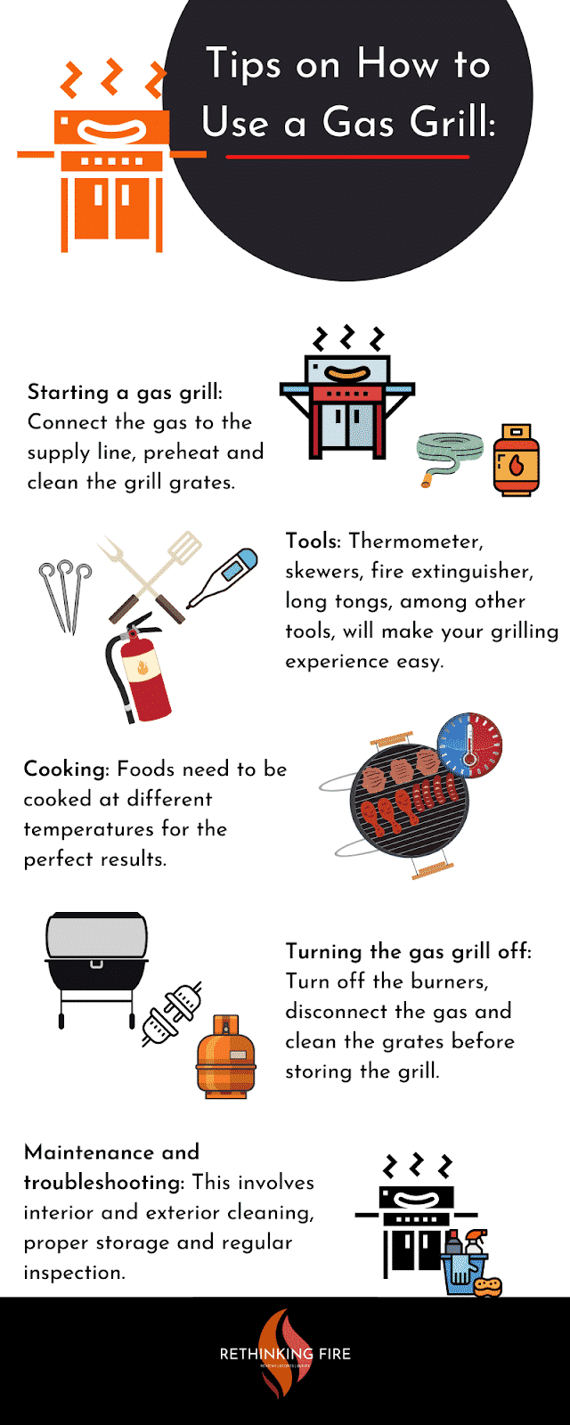 infographic on How to Use a Gas Grill