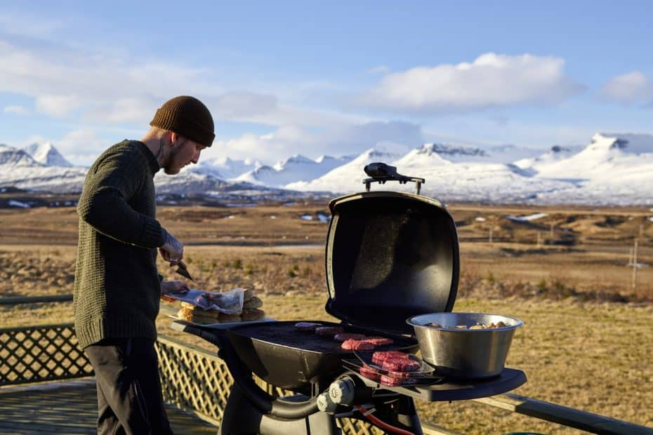 Outdoor gas grilling.